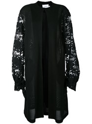 Co Mun Lace Sleeve Coat Women Cotton Polyester 38 Black