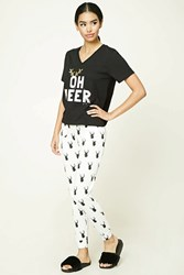Forever 21 Oh Deer Graphic Pj Set Black White