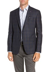 Ted Baker London Jay 2B Trim Fit Plaid Wool Sport Coat Blue Plaid