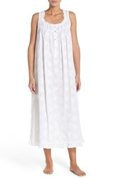 Women's Eileen West Embroidered Cotton Ballet Nightgown White Floral Embroidery