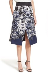 Women's Tibi A Line Silk Print Skirt Blue Multi