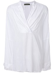 Di Liborio Draped Neck Shirt White
