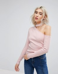 Urban Bliss Exposed Shoulder Knit With Choker Detail Light Pink