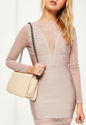 Missguided Nude Statement Chain Cross Body Bag