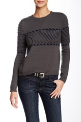 Romeo And Juliet Couture Cropped Crew Neck Sweater Gray