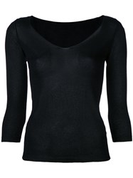 Roberto Collina Fine Knit V Neck Jumper Black