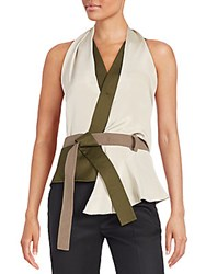 3.1 Phillip Lim Draped Wrap Front Top Taupe
