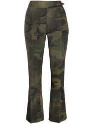 Ermanno Scervino Belted Camouflage Trousers Green