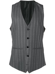 Versace Pinstriped Vest Grey