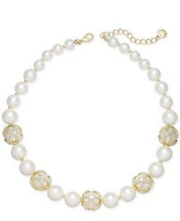 Charter Club Gold Tone Imitation Pearl And Pave Collar Necklace Created For Macy's