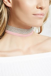 Forever 21 Glitter And Velvet Choker Set Silver Light Pink