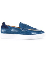 Msgm Fringed Loafers Men Cotton Leather Rubber 40 Blue