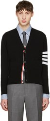 Thom Browne Black Classic Short V Neck Cardigan