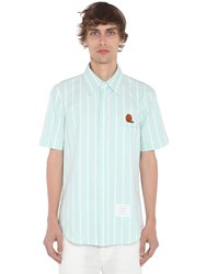 Thom Browne Straight Fit Oxford Short Sleeve Shirt Light Green