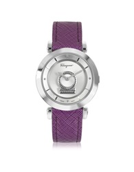 Salvatore Ferragamo Minuetto Silver Tone Stainless Steel Case And Purple Leather Strap Women's Watch