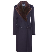 Prada Fur Trimmed Wool Angora And Cashmere Coat Blue