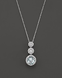 Bloomingdale's Aquamarine And Diamond Pendant Necklace In 14K White Gold 16 Blue White
