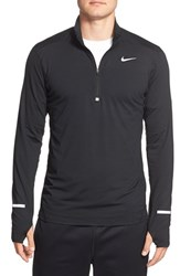 Nike Men's 'Element' Dri Fit Half Zip Running Top Black Reflective Silver