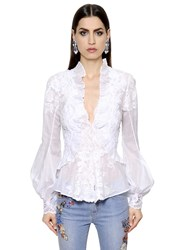 Ermanno Scervino Lace Embroidered Cotton Voile Shirt