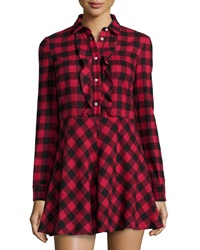 Red Valentino Long Sleeve Fit And Flare Plaid Shirtdress