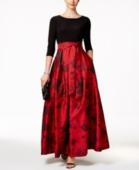 Jessica Howard Floral Print Belted Ball Gown Medium Red