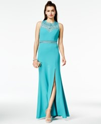 B. Darlin B Juniors' Rhinestone Illusion Gown Turquoise