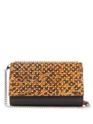 Christian Louboutin Paloma Leopard Print Leather Clutch Leopard