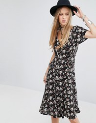 Kiss The Sky Button Front Midi Tea Dress In Grunge Floral Black
