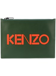 Kenzo Appliqued Clutch Women Cotton Calf Leather Nylon One Size Green