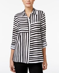Alfred Dunner Striped Roll Tab Shirt Black And White