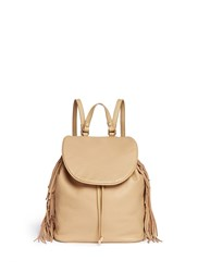Sam Edelman 'Fifi' Fringe Leather Backpack Brown