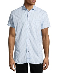 English Laundry Trim Fit Neat Pattern Short Sleeve Sport Shirt Blue