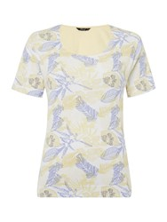 Tigi Crew Neck All Over Print Top Yellow