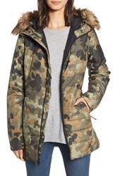 The North Face Harway Heatseeker Tm Water Resistant Jacket With Faux Fur Trim New Taupe Green Macrofleck