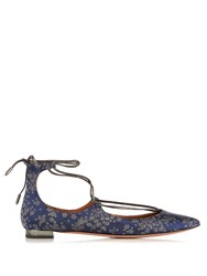 Aquazzura Christy Stardust Jacquard Flats Navy Multi