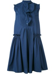 Moncler Ruffle Shift Dress Women Cotton 42 Blue