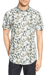 Sand Men's Trim Fit Leaf Print Sport Shirt