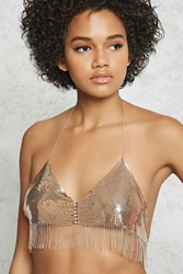 Forever 21 Chain Mail Bralette Body Chain Rose Gold