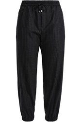 Milly Pinstriped Wool Blend Twill Track Pants Charcoal