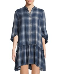 Leon Max Plaid Half Sleeve Shirtdress Indigo