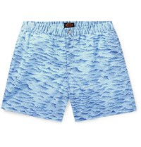 Tod's Mid Length Printed Swim Shorts Blue