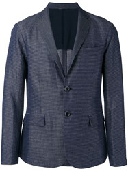 Emporio Armani Striped Chambray Blazer Blue