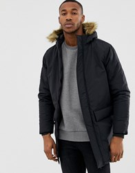 French Connection Faux Fur Hood Parka Jacket Black