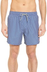 Ted Baker London Caven Geo Print Swim Trunks Blue