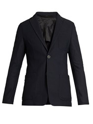 Giorgio Armani Honeycomb Mesh Patch Pocket Blazer Navy
