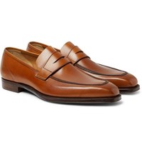 George Cleverley Burnished Leather Penny Loafers Tan