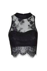 Sweetheart Lace Crop Top By Glamorous Petites Black