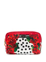 Dolce And Gabbana Floral Print Make Up Bag White