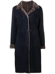 Liska Bi Colour Suede Coat Blue