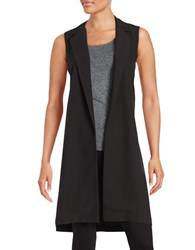 Design Lab Lord And Taylor Collared Open Front Vest Black